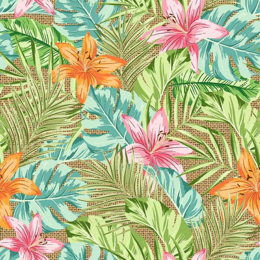 Çiçek desenli dijital baskı kumaş