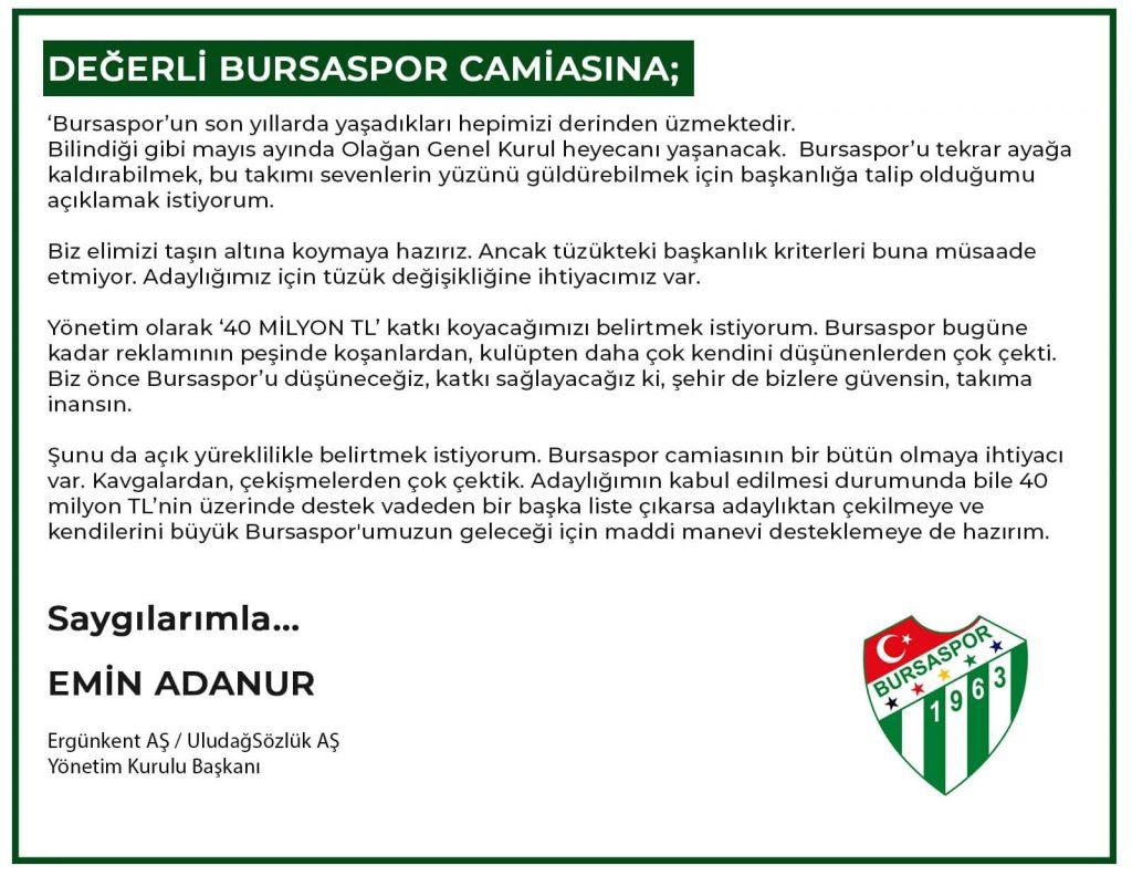 Emin Adanur Bursaspor Başkanlığı Adaylığı