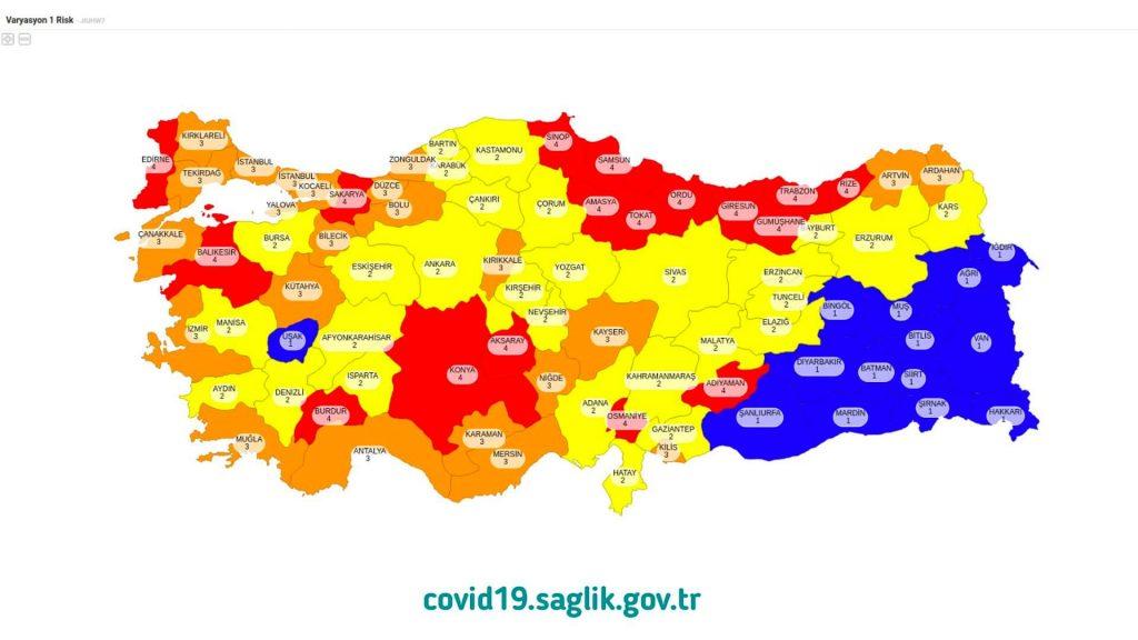 Koronavirüs İllere Göre Risk Renk Haritası